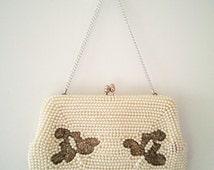 wedding bag, vintage handbag, 50s handbag, 50s purse, beaded purse, pearl handbag, retro handbag