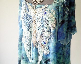 mermaid top, art to wear, wearable art, blue lace top, plus size top, hand embellished, handmade top, blue upcycled top