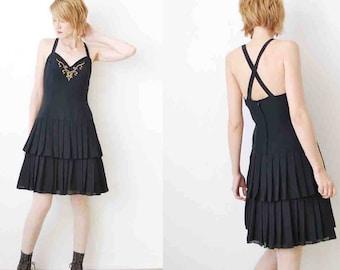 SALE...80s 90s pleated dress. criss cross dress. little black dress. 90s deadstock dress - small