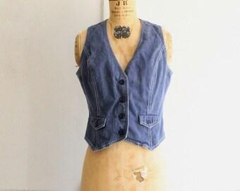 vintage 70s denim vest small Whip O Will