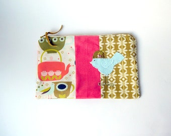 "Zipper Pouch, 6x9"" in Pink, Coral, Gold, Cream and Olive Green Tea Cups and Pots with Handmade Felt Bird Embellishment, Bird Pencil Case"