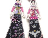 Tiny Cloth Art Doll Ladies Ornaments Gift Decorations Flat Fabric Embellished Textile Art Dolls Embellished Handmade Doll Decorations
