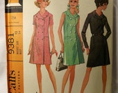 McCalls 9381 Vintage Sewing Pattern Womens Double Breasted Sleeveless Coat Dress 1960s 60s Size 12 (Box B-3)