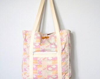 Vintage Beach Bag Tote Market Tote Bag Beach Shells and Starfish Pink Fabric Bag