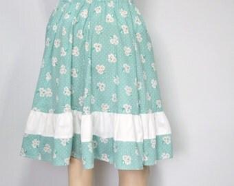 Skirt Vintage Prairie Skirt Floral Ruffle Skirt Boho Folk Skirt Country Peasant Skirt Cotton Size Small