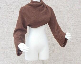 Handmade Hand Knit Shrug Bolero Sweater Copper Brown Wool Criss Cross Style Wear Four Ways