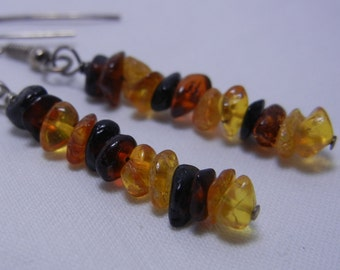 Minimalist Stacked Amber Nugget Sterling Silver Earrings Multi Colored
