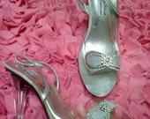 Crystal Slippers////vtg 90's does 50's Cinderella's Shoe Pin Up Peep Toe Clear Swarovski Crystal Slipper Heels///SZ 6.5