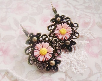 Antique brass plated light pink yellow sunflower cabochon earrings, bridal gifts, gothic, sweet, whimsical,