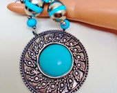 Vintage Ornate Turquoise Medallion Pendant Ethnic Cleopatra Necklace Beaded Roman Rustic Retro Art Deco  Runway Statement