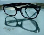 vintage 1960s black glasses silver fins / eyeglasses frames METAL VISTA Italy Condor de Luxe