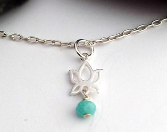 Sterling Silver Lotus Necklace Gemstone Lotus Chain Silver waterlily chain Silver Lotus necklace Spiritual necklace Lotus Gemstone Chain