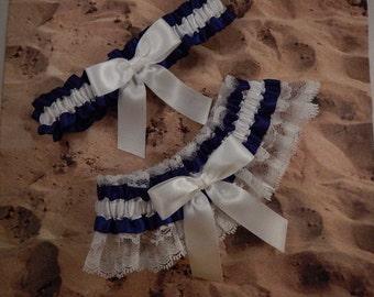 Navy Blue Ribbon White Lace Bridal Wedding Garter Toss Set