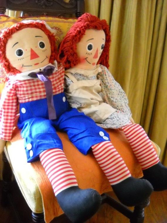 Vintage Raggedy Ann And Andy Rag Dolls By Knickerbocker 1971