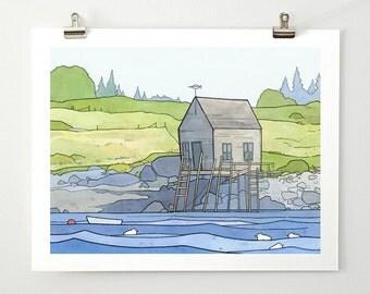Maine boathouse illustration - coastal landscape print 11x14