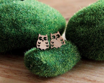 Owl Duo Bamboo Studs, Owl Earrings, Hootie Owl Stud Earrings, Wood Owl Earrings