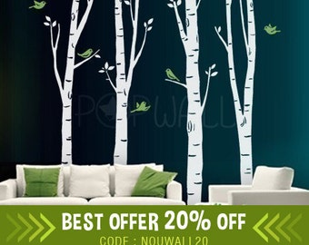 Birch Trees Wall decal with birds Wall decals Wall Sticker Vinyl Art ,Wall decor - 075