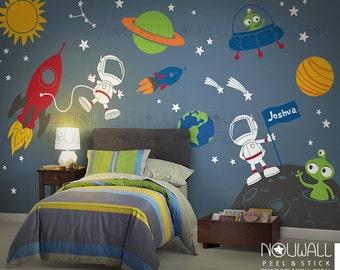 Space wall decal, Planets, Astronaut, Boy, Star, kids, Rocket Ship Alien wall decal walls sticker