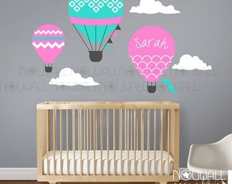 Hot Air Balloon Wall decal Wall Sticker with custom name decal, Baby, Nursery wall decals -  wall decor