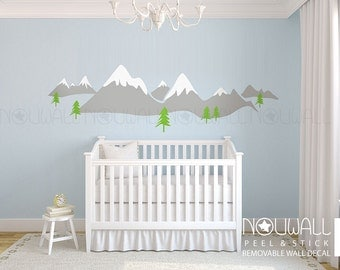 Snow Mountain Snow Peak Scandinavia Design Wall Decal Sticker for Modern Nursery