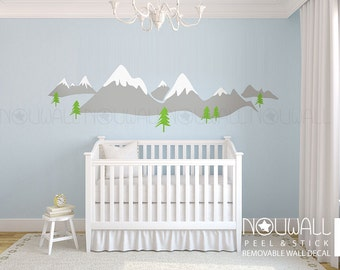 Snow Mountain Snow Peak Scandinavia Design Wall Decal Sticker for Modern Nursery