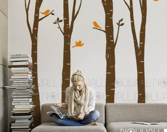 Tree Wall Decal Wall Sticker Art - Birch Tree Decal -  EXTRA 10 FREE Flying Birds - 075