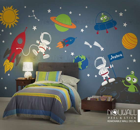 Space wall decal planets astronaut boy star children for Space themed bedroom wallpaper