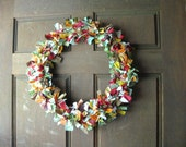 Autumn Fall Scrap Fabric Wreath - Rag Wreath for Door in Fall Leaves Colors Cotton Fabric