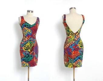 1980's Betsey Johnson Bodycon Mini Dress Abstract Print 80's 90's