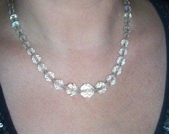 Vintage  Aurora Borealis Lead Crystal Necklace of graduated beads