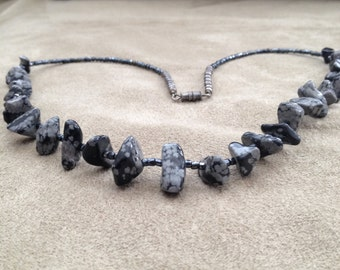 Snowflake Obsidian and Hematite Necklace