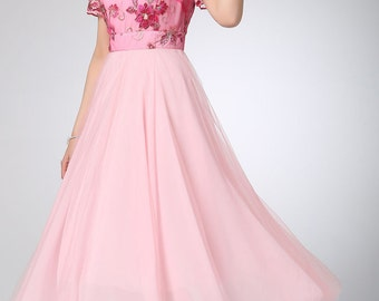 Pink chiffon dress prom dress women party dress (1211)