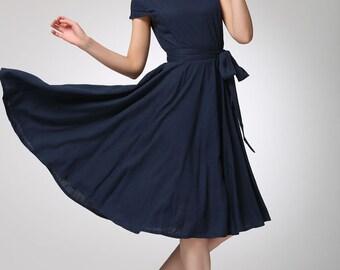 Mod Dress, off shoulder dress,Linen dress, navy dress,Prom dress ,navy blue dress, linen clothing,Custom made,midi dress, fit and flare 1262