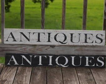 Antiques sign, Wood sign, Farmhouse kitchen sign, farmhouse sign, large wood sign, wood wall art, reclaimed wood wall art,