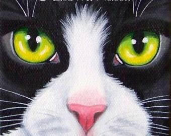 Original Tuxedo Black and White Cat Face Macro Portrait Acrylic Painting