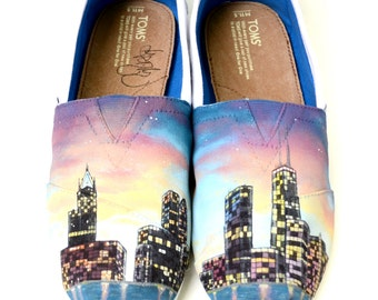 Custom TOMS Shoes - Hand Painted Chicago Skyline