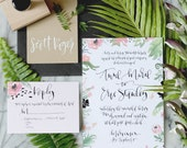 Custom Watercolor Botanical + Calligraphy Wedding Invitation