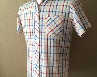 Vintage Men's 80's Shirt, Short Sleeve, Plaid, Button Up by Lady Diplomat (M)