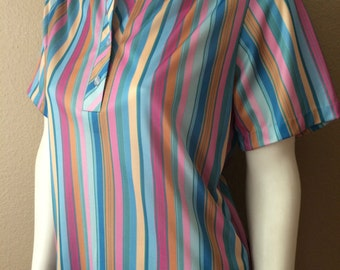 Vintage Women's 80's Blouse, Striped, Short Sleeve, Pastel, Top by Amy Lynn (M)