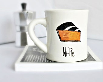 Funny Mug, coffee cup, tea cup, diner mug, black white orange, gag gift, coffee pie, wifi, geek gift, tech, computer, IT professional, nerd
