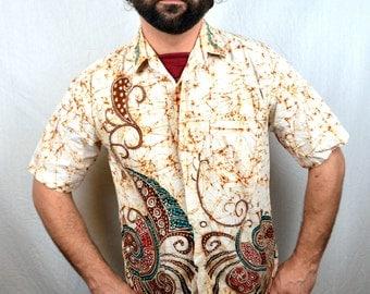Vintage Batik Tribal African Button Up Shirt