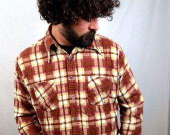 Vintage 70s Grunge Flannel Button Up Shirt