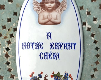 1900s French Enameled Angel and Forget Me Nots Memorial Wall Plaque Sign