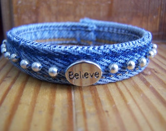 Upcycled Denim Bohemian Beaded Wrist Wrap Inspirational Bracelet Believe