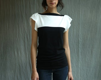 Fae Top, Black and White, Cotton Jersey, Flutter Sleeve- handmade to order