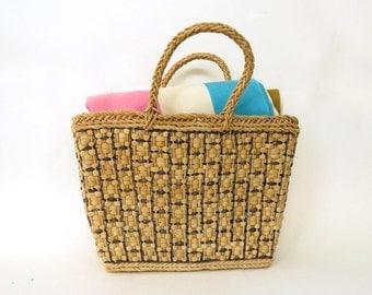 Vintage Woven Natural Straw Purse / Weaving straw handbag / Woven boho tote summer purse / Grocery bag sack / black off white / 4 x 10 x 16