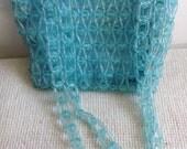 Pale Blue Plastic Bead Purse. Beaded handle.  Original Vintage 1950 Bag.  Pale turquoise blue.