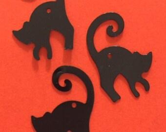New Sequins - Black Cats - 25 pieces