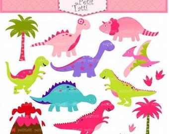 ON SALE Dinosaur Digital clip art, Dino clip art, girl dinosaur clip art, cute dinosaur, pink dinosaurs clip art, INSTANT Download