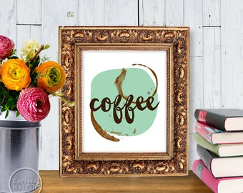 Coffee & Mint Illustration Art Print Poster - Instant Download 8x10